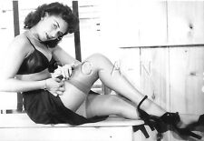 1940s-60s (6 x 4) Repro Risque Pinup RP- In Kitchen- Fixes Garter- Stockings