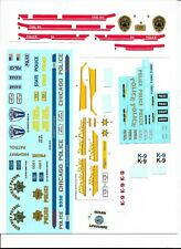 Large Lot of 1/24 scale POLICE car decals