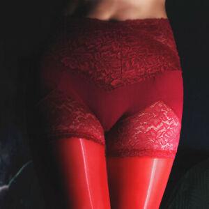 Lace Waist Pantyhose Stretch Tights Oil Shiny Glossy Stockings Hosiery Plus Size