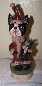 Folk Art  Clay Boston Terrier Dog Santa Paper Mache Container New Vintage Style