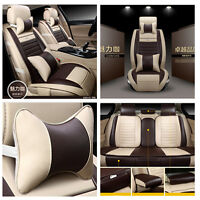 PU Leather Soft Car Seat Covers Front Rear Neck Lumber Pillows for 5-seat Csr