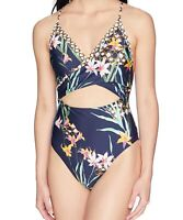 Trina Turk Womens Swimwear Blue Size 6 Cutout Floral Tropical One-Piece $160 469