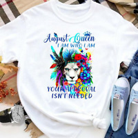August Queen I Am Who I Am Lion Colorful Feather Flower And Butterfly T- shirt