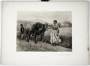 """Édouard Debat-Ponsan Print Photogravure French Engraving 1800s 15.5"""" x 11.5"""""""