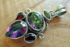 Large Stunning Industrial Sterling Silver Mystic Topaz and Garnet Pendant