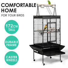"""68"""" Large Bird Parrot Cages Cockatoo Play Top Finch Cage Pet Supplies Black New"""