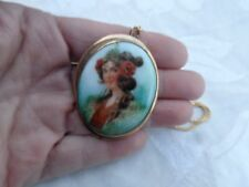 ANTIQUE VICTORIAN PORCELAIN GYPSY LADY POPPY FLOWER PORTRAIT GF PIN PENDANT