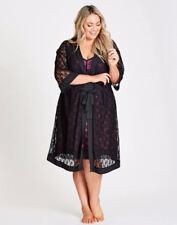 Autograph Black stretch lace pj pyjamas dressing gown robe size 18 NEW + Belt