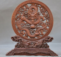 Old Chinese Boxwood wood Hand carved Auspicious Dragon bird Screen Byobu Statue