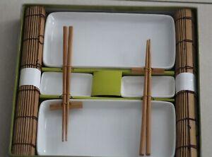 Asia SUSHI SET Geschirr 10 teilig für 2 Personen weiß Porzellan Bambus Spülmasch