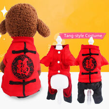 Pet Dog Chinese Style Clothes Tang-style Jumpsuit Vintage Warm Spring Apparel