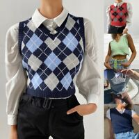 Women Casual Plaid Knitted Tank Vest Tops Preppy Style V-Neck Sleeveless Sweater