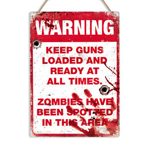 WARNING ZOMBIES Metal Tin Wall Sign Plaque Funny Man Cave Zombie Restricted Area