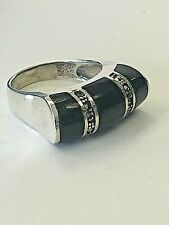 size 6 VINTAGE BLACK ONYX & MARCASITE NEW 925 STERLING SILVER HIGH POLISHED RING