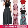 USA Women Floral Maxi Dress Prom Evening Party Summer Beach Casual Long Sundress