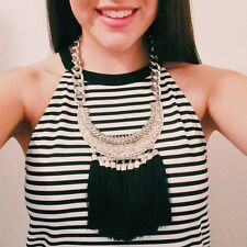 Womens Statement Necklace Handmade Black Tribal Engraved  Bib Collar Tassel