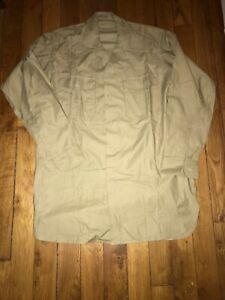 Vintage French Army 50s Chino's Twill Shirt size M Korean War