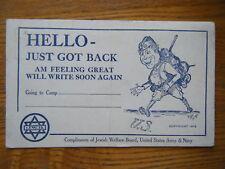 """New listing Jewish Welfare Board Postcard dated 1919 """"Hello Just Got Back"""""""