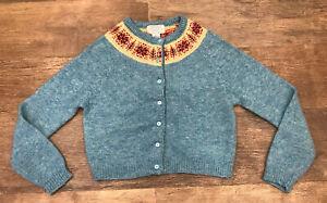Free People Vintage Fair Isle Sweater Wool Cardigan Blue Medium Cropped