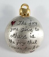 Signed AJMC Christmas Tree Bulb Ornament Pin Brooch The Joy You Give To Others