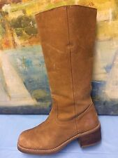 AMANDA SMITH Womens Windsor Distress Beige Leather Boots 8M