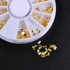 Rose Gold Metal 3D Nail Art Deco Studs Nails Accessories Wheel Fashion 12 Shapes