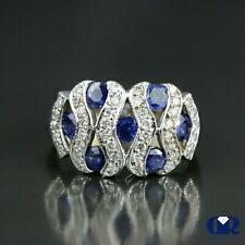 2.25 Ct Round Cut Diamond & Sapphire Cocktail Ring Right Hand Ring 18KW Gold