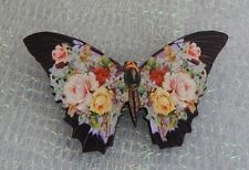 Vintage Style Floral Butterfly Brooch or Scarf Pin Jewelry Art Wood Black NEW