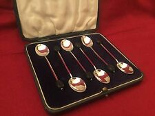 Birmingham 1932 Boxed Set 6 Solid Silver Coffee Bean Spoons