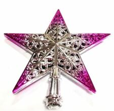 Xmas Shiny Tree Star Topper Ornament Decorations Silver Pink