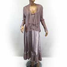 NEW NWT Komarov Woman Nordstrom Plus Size Pleated Beaded Scoop Gown Wrap Set 1X