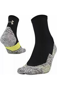 UNDER ARMOUR Run Cushion Quarter Running Socks sz L Large (8-12) Black Volt