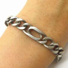 "Vtg 925 Sterling Silver Thick Men's Figaro Link Bracelet 8 1/4"""