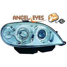 Coppia Fari Fanali Anteriori Tuning CITROEN SAXO 99-03 CROMATI anelli angel eyes
