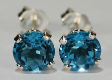 BEENJEWELED GENUINE NATURAL MINED SWISS BLUE TOPAZ EARRINGS~STERLING SILVER~6MM