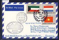 58220) LH FF Berlin - Rom 29.3.92, Karte ab UNO New York flag
