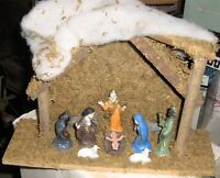 """Smaller Nice 10 Piece Painted Nativity Scene, Creche 12"""" Overall Length"""