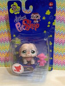 Authentic Littlest Pet Shop # 1040 NIB Baby Pink White Saint Bernard Dog Euro