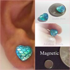 MAGNETIC Blue Heart Mermaid Dragon Scales Stud Non Pierced 12mm Earrings #M164