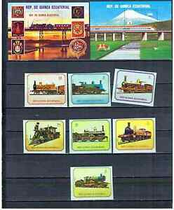 GUINEA EQUATORIALE 1978 TRAINS PERFORED + IMPERFORED   MNH