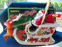 Vintage Reindeer Santa Sleigh!   IOB!!  HARD PLASTIC!  SO CUTE!  NON WORKING