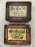 2 VINTAGE OLD ENGLISH CURVE CUT PIPE TOBACCO TIN EMPTY