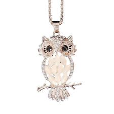 Women Charm Rose Gold Owl Rhinestone Crystal Pendant Necklace Long Sweater Chain