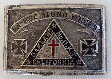 Vintage Knights of Templar OAKLAND CA Iron Cross Belt Buckle In Hoc Signo Vinces