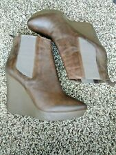 JIMMY CHOO brown leather wedge ANKLE BOOTS size 40