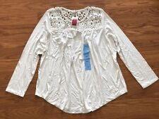 NEW Womens Philosophy White Floral Crochet Long Sleeve Lace Shirt Size L Large