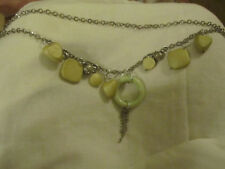 """Silver Tone & Green Plastic Chunky Shapes & Hearts Chain Necklace - 38"""" long"""