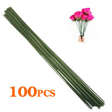 100 Pcs Dark Green Crafting Floral Stem Wire 14 inch 18 Gauge for Handcrafts