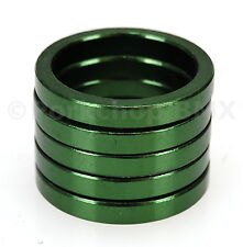 """Bicycle BMX or MTB headset spacers for 1 1/8"""" threadless (SET of 5) 5mm - GREEN"""