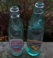 TWO ANTIQUE PICTORIAL VICTORIAN CODD BOTTLES RESTORED WITH RARE ORIGINAL LABELS